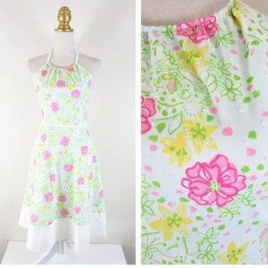 Vintage Lilly Pulitzer Floral Halter Dress Sz 6